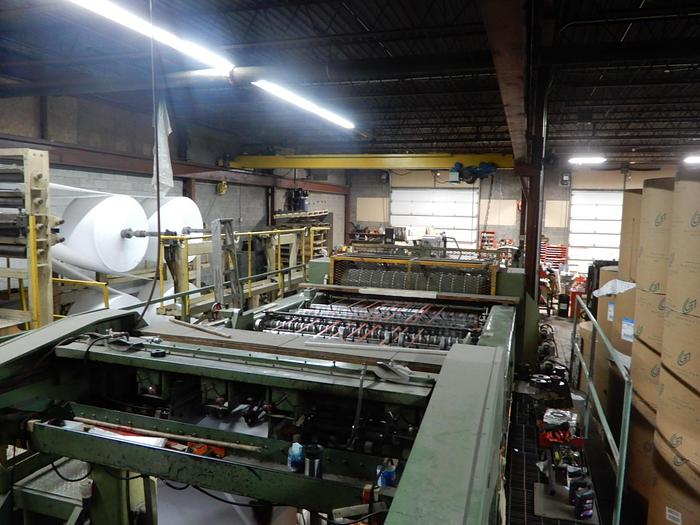 """Used 74"""" (1.87M)  LENOX SINGLE ROTARY KNIFE SHEETER 3 UNWIND STANDS AND STACKER"""