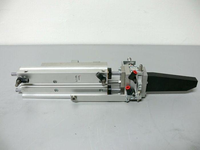Used SMC MGPL20N-200 Cylinder w/ MXS12-20A-X11 Slide Table, 2 IFM IFS204 Prox. Sensor