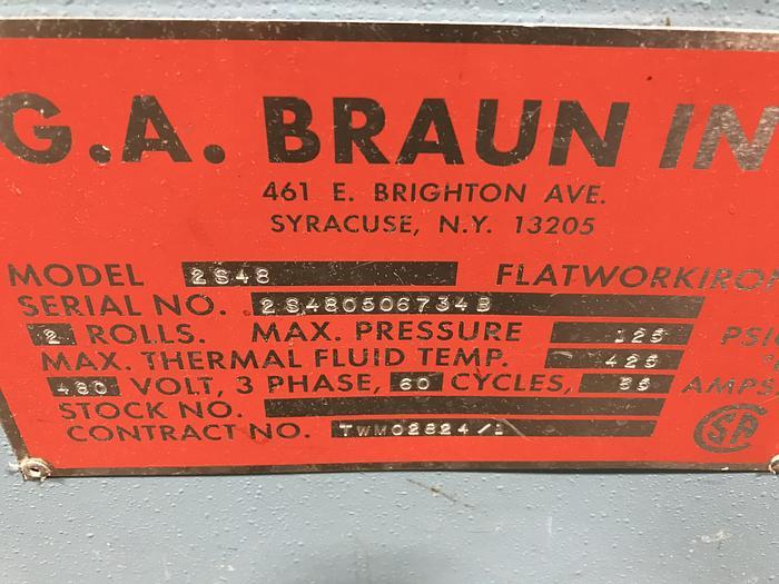 """2006 BRAUN 2 ROLL 48"""" X 120"""" STEAM IRONER"""