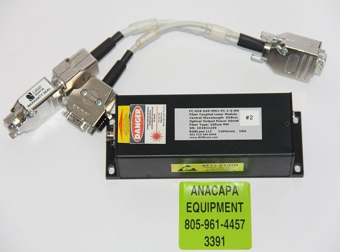 Used RGB Lase FC-658-040-MM2-PC-1-0-R-M Fiber Coupled Laser Module W/Cable (3391)w