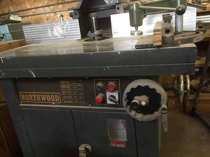 Northwood Model NW 513 Shaper, with sliding table, feeder and cutters
