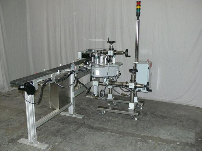 Used Accraply Pressure sensitive Side Labeler MSNO6799 w/ Dorner 2200 Conveyor