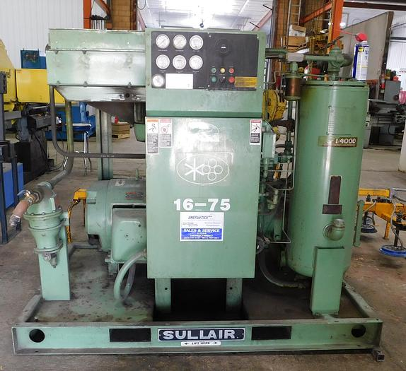 Used Sullair 75 HP Rotary Screw Air Compressor 16BS-75H ALAL