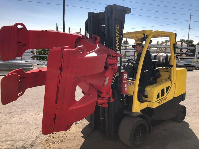 "Used 12,000 POUND HYSTER S120FTPRS W/ 72"" BOLZONI ROLL CLAMP MFG. 2013"