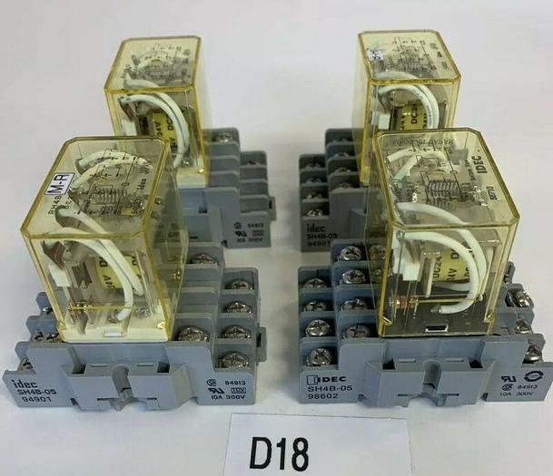 Used IDEC RH4B-U Relay and SH4B-05 Base (Lot Of 4) Fast Shipping! ~Warranty~