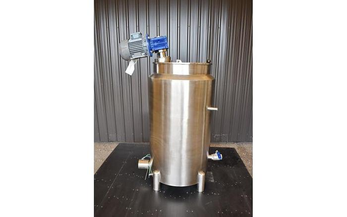 Used USED 50 GALLON JACKETED TANK, STAINLESS STEEL, WITH MIXER & ELECTRICALLY HEATED JACKET