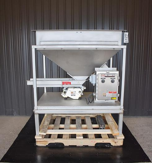 """Used USED ERIEZ VIBRATORY FEEDER, 8"""" WIDE X 32"""" LONG, STAINLESS STEEL, WITH FEED HOPPER, VARIABLE SPEED"""