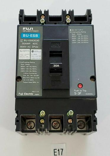 Used *PREOWNED* FUJI ELECTRIC BU-ESB3030 30A 600V 3 POLE CIRCUIT BREAKER + WARRANTY!