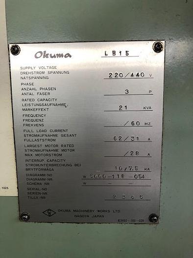 1988 OKUMA LB15 BB CNC Lathe