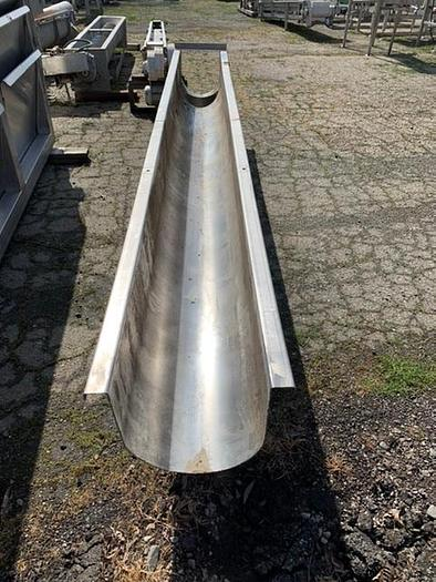 "Stainless Steel Auger Screw Trough 12' Long x 13"" Wide x 13"" Deep"