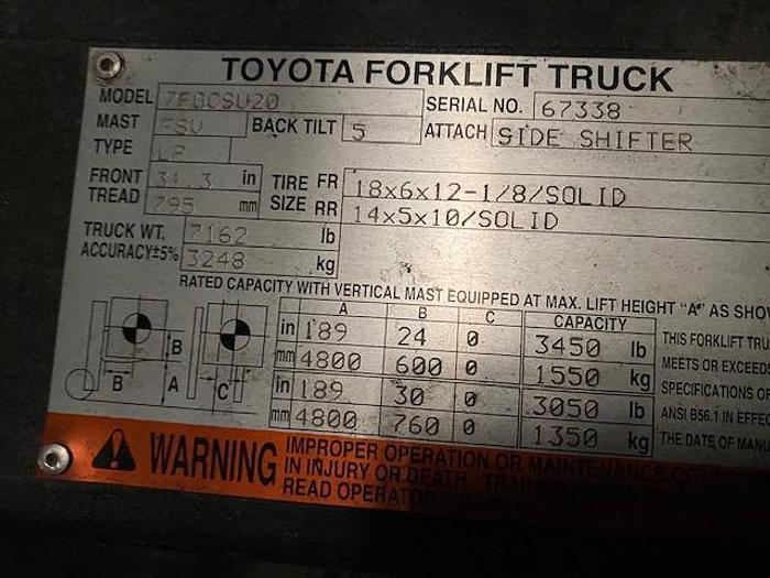Toyota Forklift 7FOCSU2O