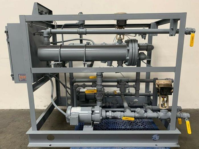 Used Budzar 1WT-S50WSB-DSP Heat Exchanger Skid 460V 3PH w/ Two Marathon Jet Pumps 2HP