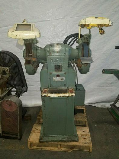 """Used Hammond Pedestal Grinder with Built In Dust Collect Model ND-10 Double 8"""" Wheels"""