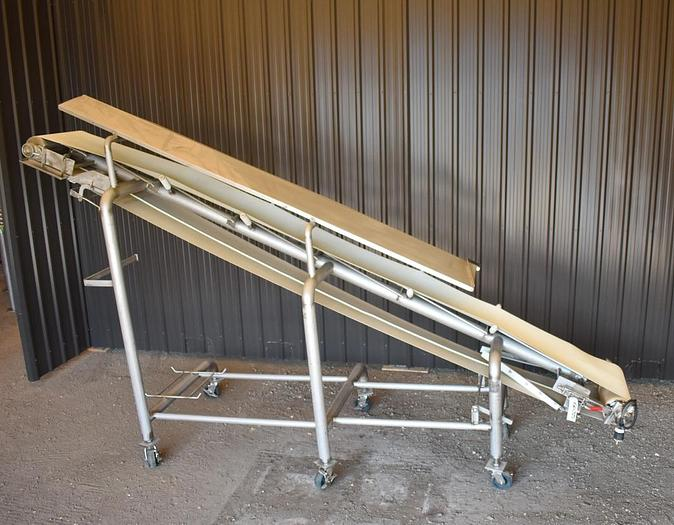 USED STAINLESS STEEL INCLINE BELT CONVEYOR, 18'' WIDE X 14' LONG