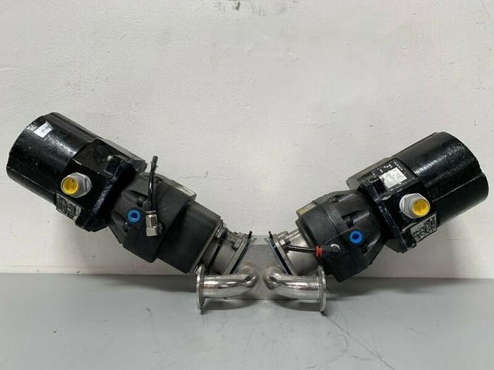 """Used 2 ITT Sherotec 3-way Stainless Steel Valve w/ Position Monitors & 2"""" Fittings"""