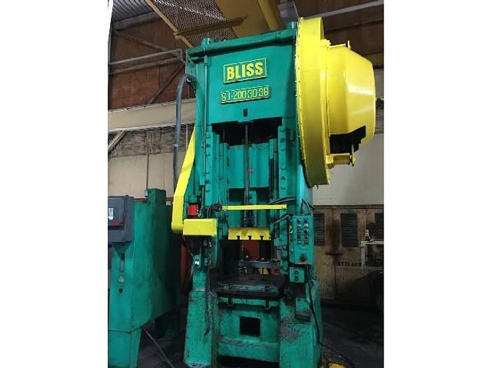 "Used 200 ton Bliss 30""x36"" Used Stamping Press"