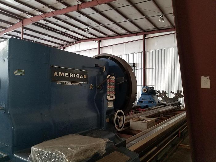 "1970 American Engine Lathe, 82"" x 480"", 3.75"" Hole, 400 rpm, 50hp, ID17505"
