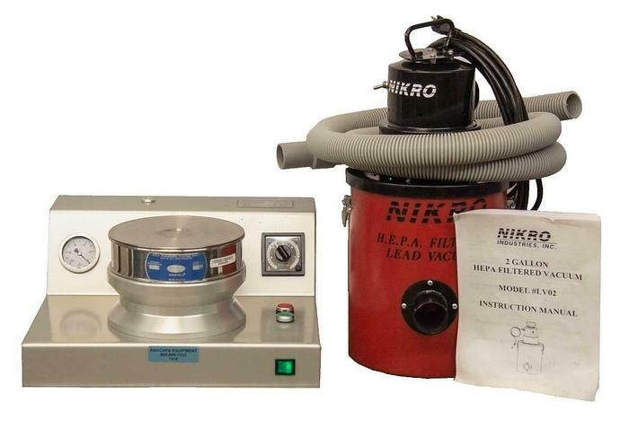 Used Air Jet Sieve Particle Size Analyzer System w/ Nikro 2 Gallon Hepa Vacuum 7316 R