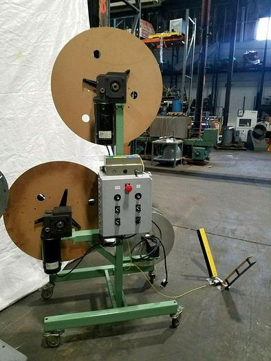 Used Rapid Air Motorized Double Reel paper Inter-Leaf Stock Coiler Payoff Stamping