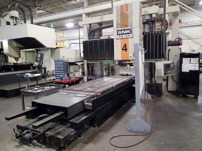 """Used 1996 SNK Vertical Machining Center, Model AIC 150, Table Size 59"""" X 138"""", X Travel 157"""", Y Travel 106"""", 50 Taper, 3000 RPM, Fanuc CNC"""