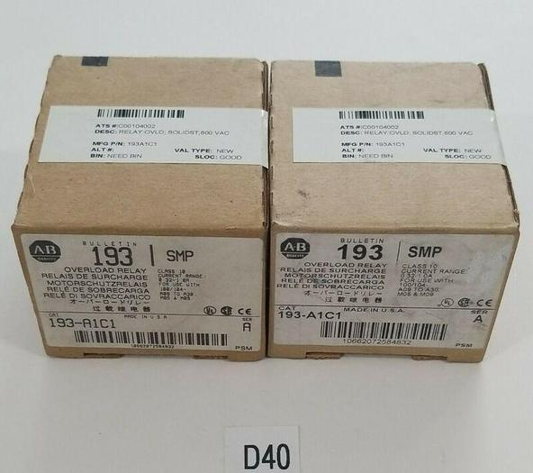*NEW IN BOX* LOT OF 2 Allen Bradley AB 193-A1C1 Series A Overload Relay Warranty
