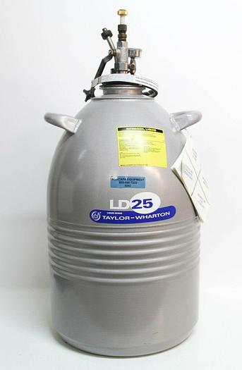 Used Taylor Wharton LD25 25LDB Aluminum Cryogenic Nitrogen Dewar 25L (6542)