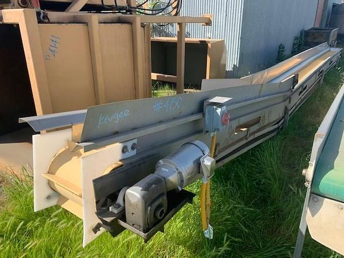"Used 12"" Wide x 39.5' Cleated Sanitary Incline Conveyor"