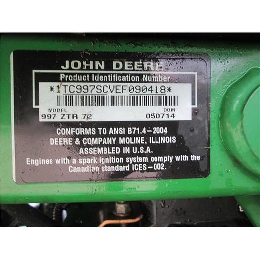 """John Deere zero turn 72"""" mower"""