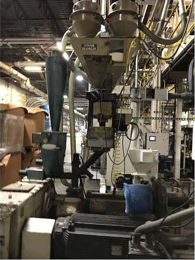"""Used 64"""" Cincinnati Milacron 4.5"""" air cooled extruder line,"""