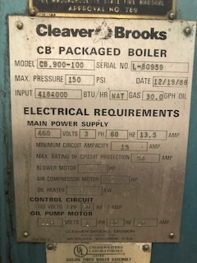 1986 Cleaver Brooks Steam Boiler 100 HP 150 PSI  CB 900-100