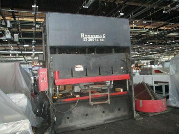 Used 300 TON ROUSSELLE MODEL S2- 300- 96- 48 STRAIGHT SIDE DOUBLE CRANK PUNCH PRESS