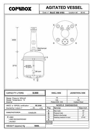 Usata Reattore CANZLER da 8000 Litri