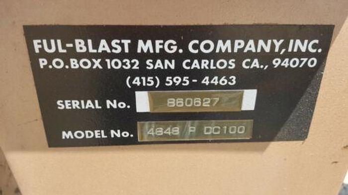 FUL BLAST MODEL 4848 P DC 100 BLAST CABINET W DUST COLLECTOR 4 FOOT X 4 FOOT CAP