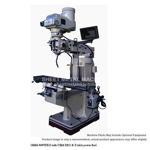GMC Machine Tools Manual Vertical Knee Mill Package GMM-949VPKG