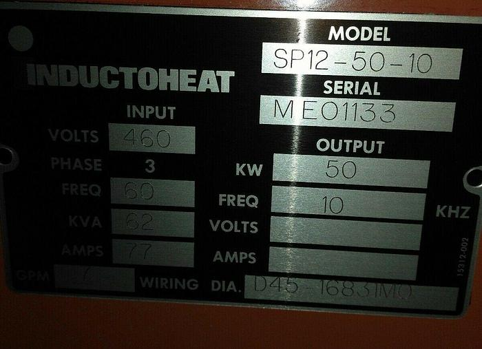 INDUCTOHEAT INDUCTION HEATER 50 KW, SP12-50-10