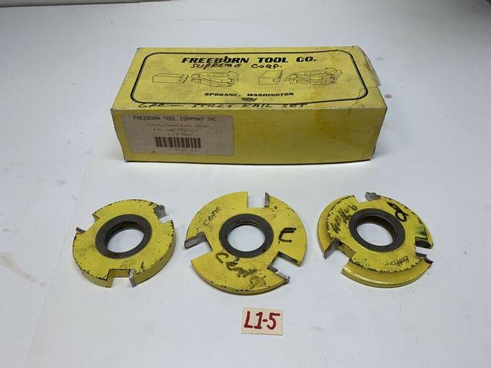 """Used Freeborn Tool T-Alloy Tipped Shaper Cutter Shaping Cutting 1-1/4"""" Bore Set Of 3"""