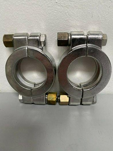 """Used Lot of 2 - Tri-Clover Stainless Steel 2.5"""" OD Bolted High Pressure Clamp"""