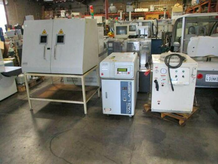 Used MIYACHI UNITEK MODEL LW 100 COMPACT YAG LASER SYSTEM WITH CHILLER AND CABINET