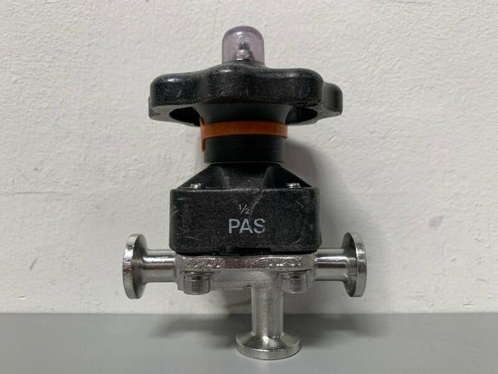 "Used ITT Pure-Flo .5-316L-RA201163 Diaphragm Valve, w/ Three 1"" Sanitary Fittings"