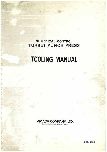 Used Manual for Amada Turret Punch Press PEGA 304040