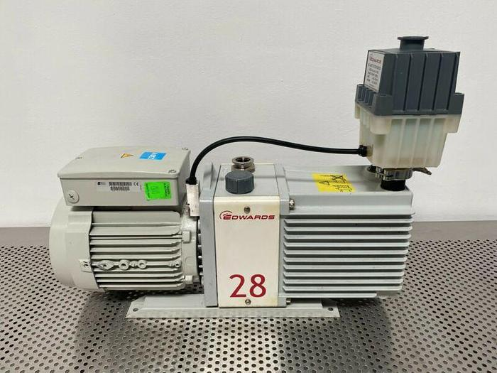 Used Edwards E2M28 Rotary Vacuum Pump 23 CFM w/ 1.2 HP Motor & Oil Filter 240V