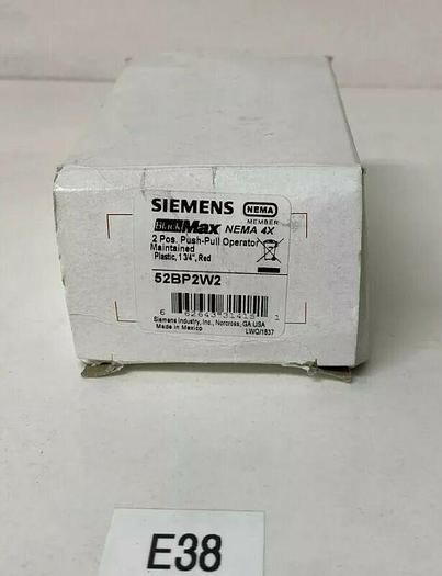 """NEW SIEMENS 52BP2W2 - PUSHBUTTON, MOUNTED, RED, 1 5/8"""" PLASTIC, 2-POSITION"""
