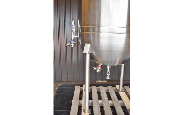 USED 100 GALLON JACKETED KETTLE, STAINLESS STEEL, WITH CLAMP-ON MIXER