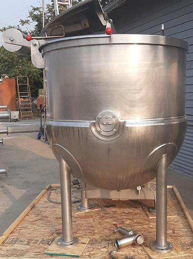 Used 300 GALLON JC PARDO (CLEVELAND) SCRAPER AGITATED KETTLE – 316 SS – JACKETED (9786)