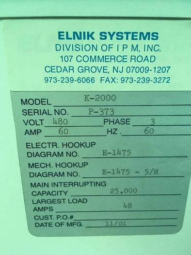 2001 Elnik Vacuum Furnace K-2000