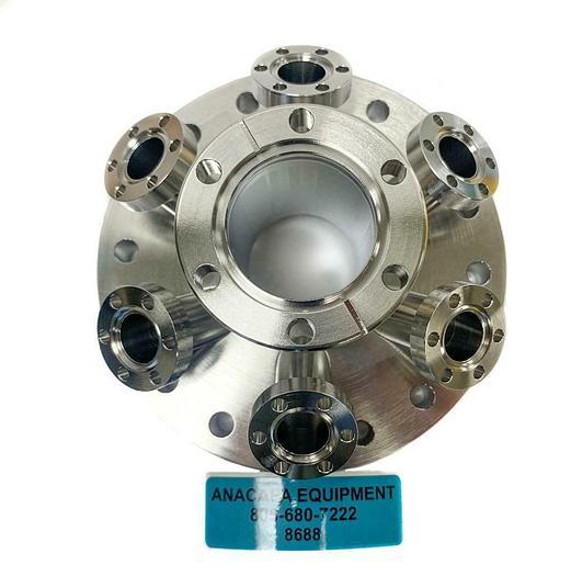 "Used MDC Vacuum Multi Port Flange, 6""x6-1.33"" Angled Ports, DN100, 409005 (8688)W"