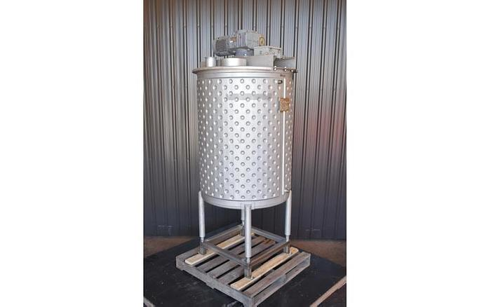 USED 200 GALLON JACKETED TANK, 304 STAINLESS STEEL, INSULATED, WITH 2 HP MIXER