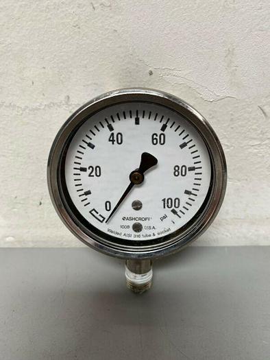 Used Ashcroft 1008 0-100 PSI Pressure Gauge w/ Tube Socket