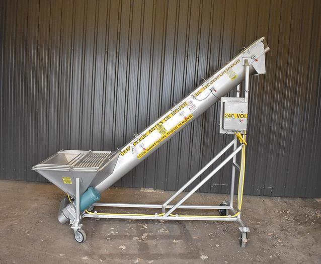Used USED STAINLESS STEEL INCLINE SCREW CONVEYOR, 9'' DIAMETER X 108'' LONG