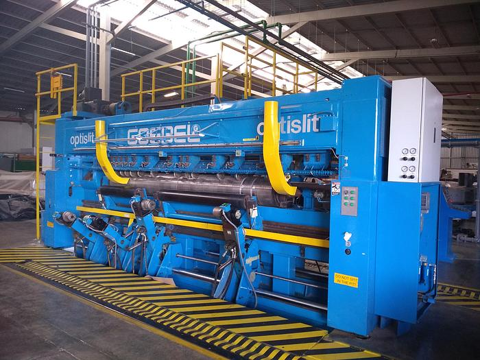 "Used 142"" (3.60M) GOEBEL OPTISLIT TWO DRUM  SLITTER REWINDER"